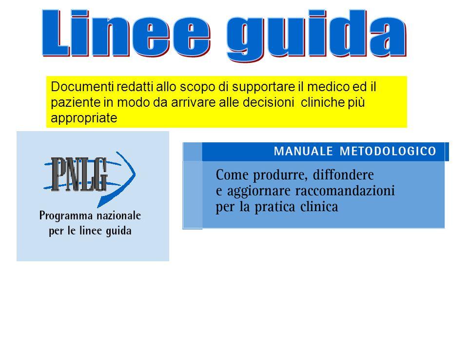 Linee guida Documenti redatti allo scopo di supportare il medico ed il paziente in modo da arrivare alle decisioni cliniche più appropriate.