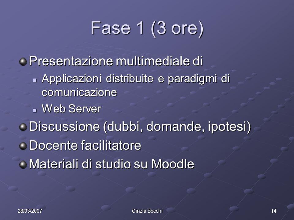 Fase 1 (3 ore) Presentazione multimediale di