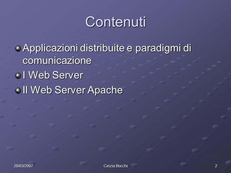 Contenuti Applicazioni distribuite e paradigmi di comunicazione