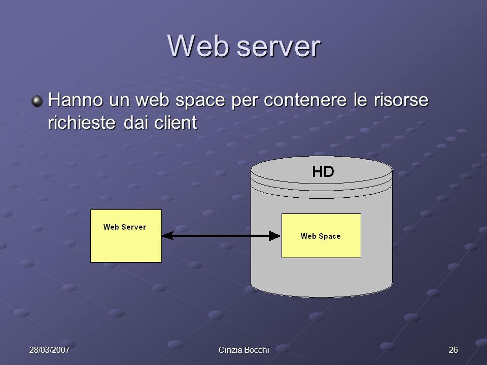 Web server Hanno un web space per contenere le risorse richieste dai client.