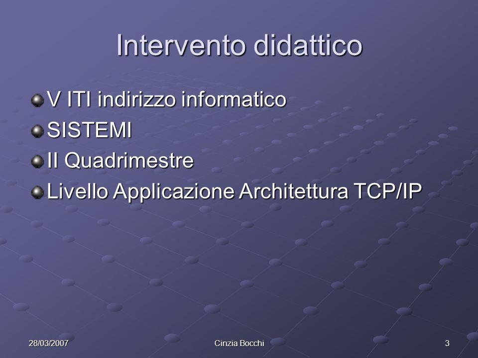 Intervento didattico V ITI indirizzo informatico SISTEMI