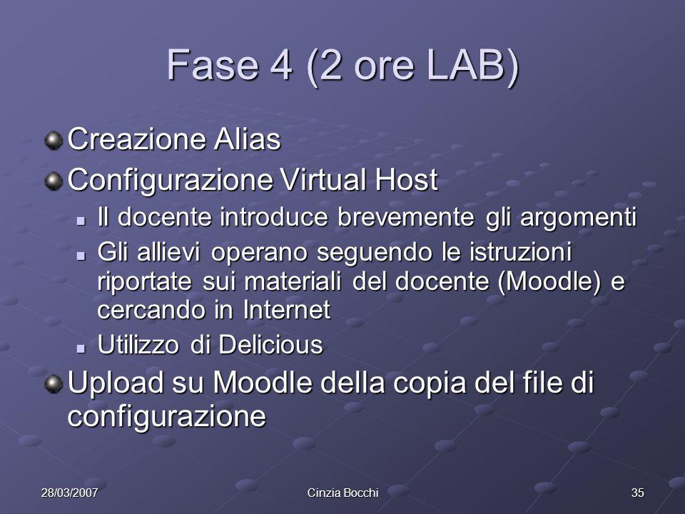 Fase 4 (2 ore LAB) Creazione Alias Configurazione Virtual Host