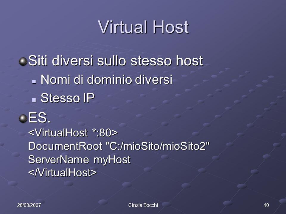 Virtual Host Siti diversi sullo stesso host