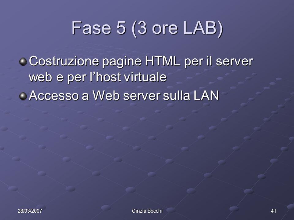 Fase 5 (3 ore LAB) Costruzione pagine HTML per il server web e per l'host virtuale. Accesso a Web server sulla LAN.