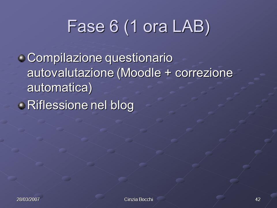 Fase 6 (1 ora LAB) Compilazione questionario autovalutazione (Moodle + correzione automatica) Riflessione nel blog.