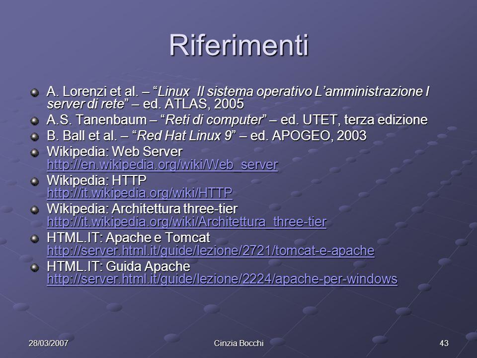 Riferimenti A. Lorenzi et al. – Linux Il sistema operativo L'amministrazione I server di rete – ed. ATLAS, 2005.