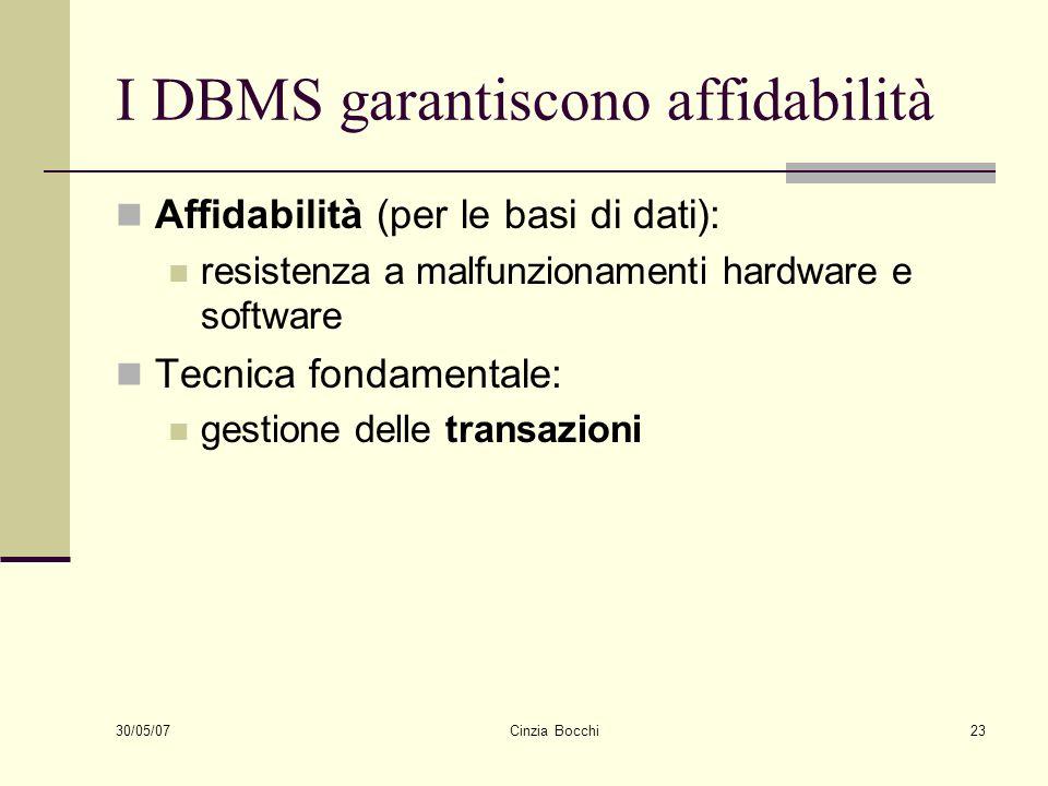 I DBMS garantiscono affidabilità