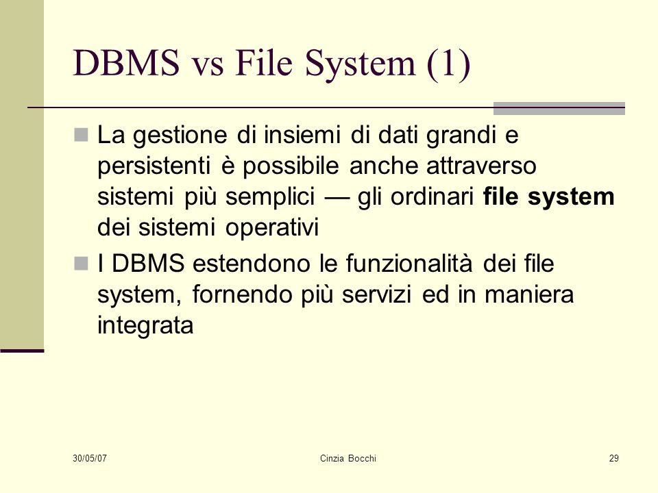 DBMS vs File System (1)