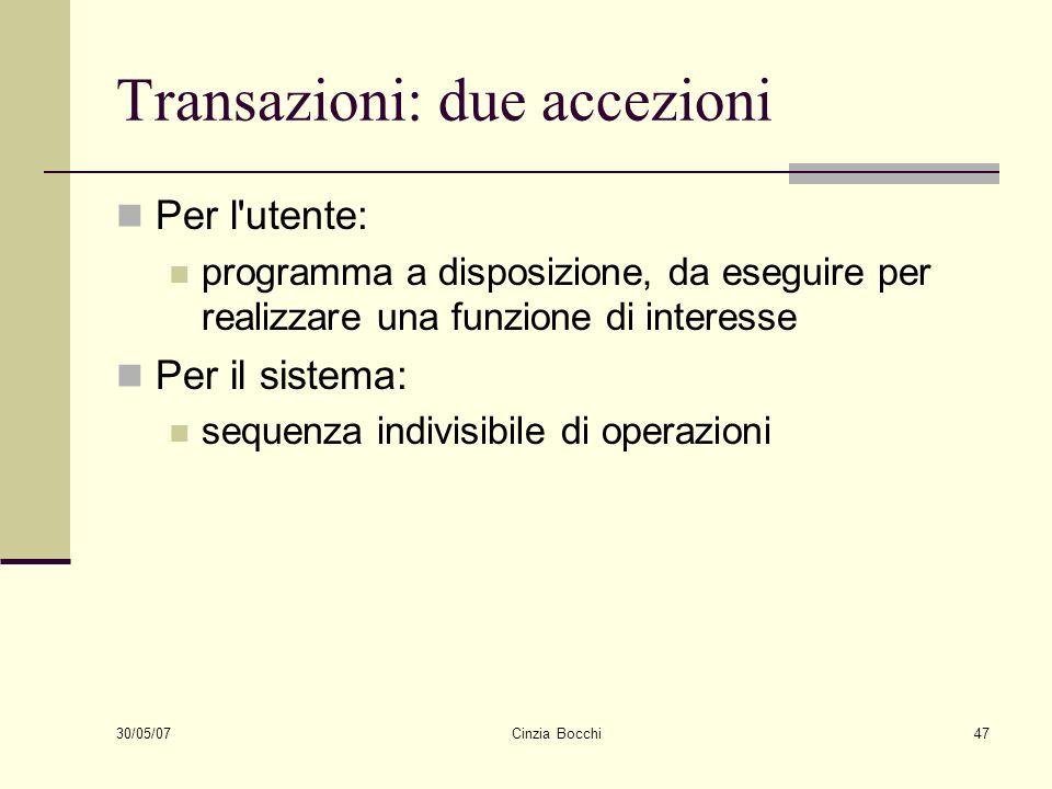 Transazioni: due accezioni