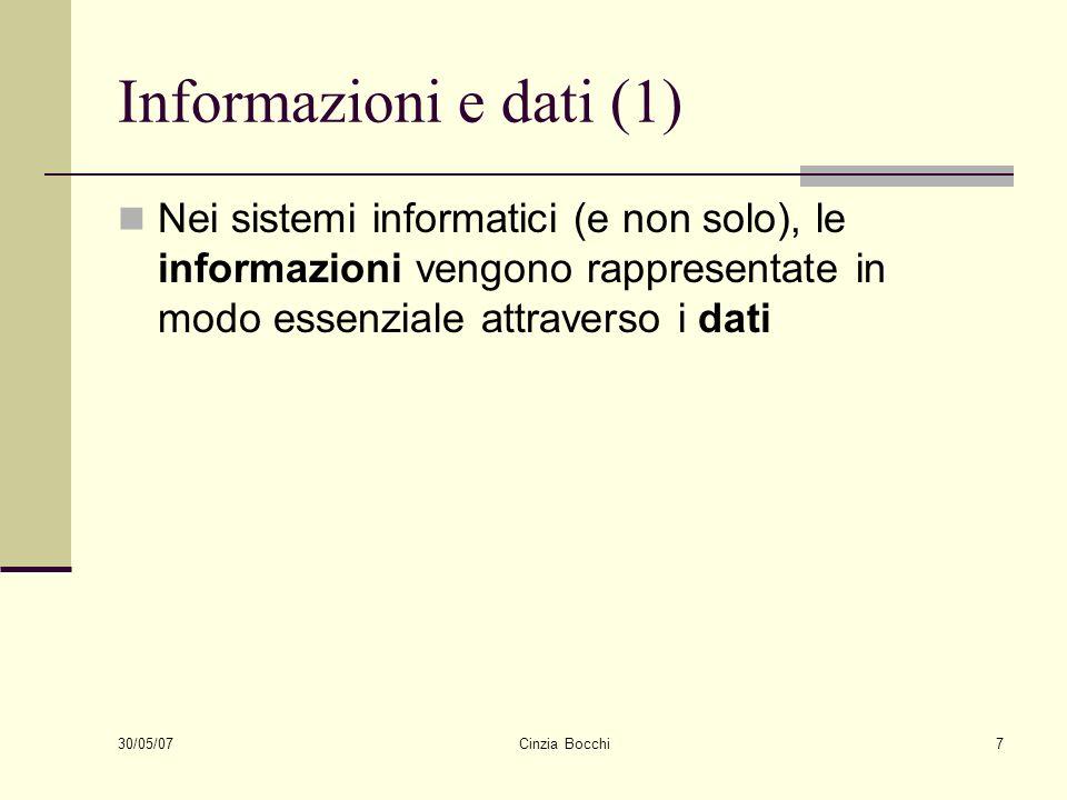 Informazioni e dati (1) Nei sistemi informatici (e non solo), le informazioni vengono rappresentate in modo essenziale attraverso i dati.