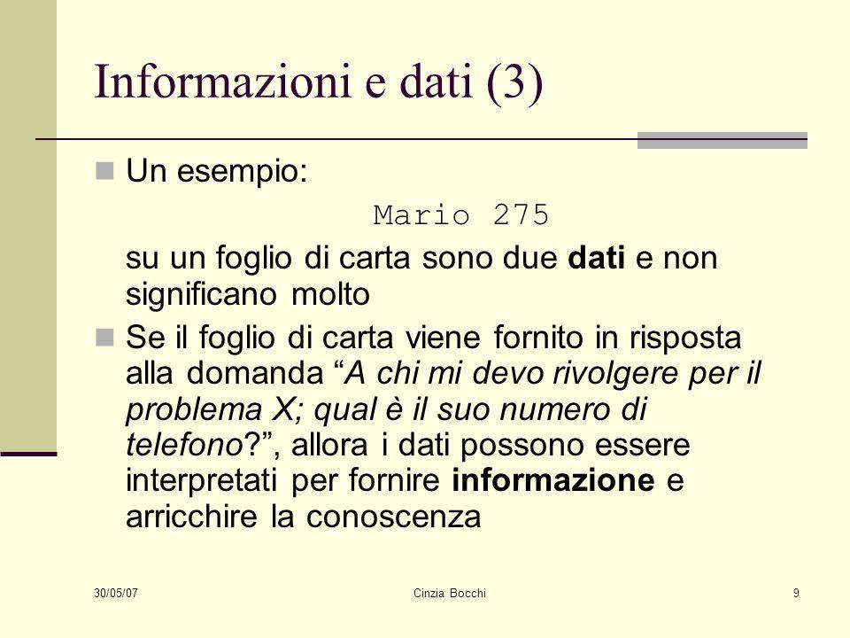 Informazioni e dati (3) Un esempio: Mario 275