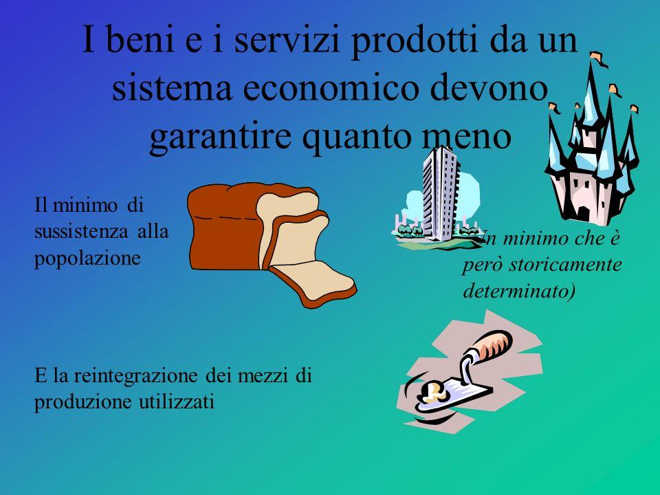I beni e i servizi prodotti da un sistema economico devono garantire quanto meno