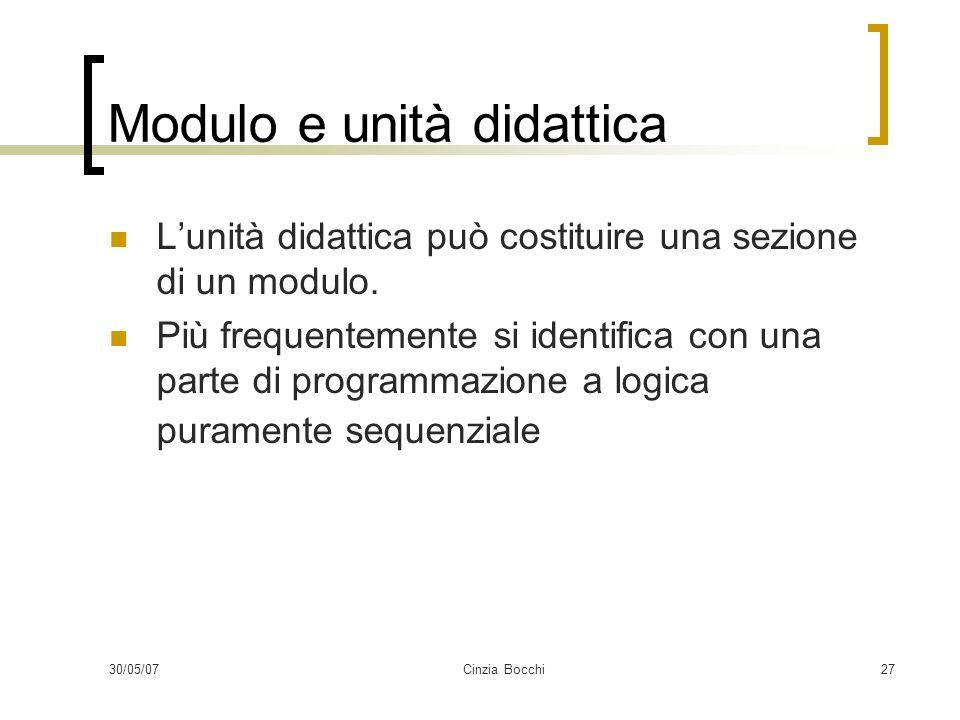 Modulo e unità didattica