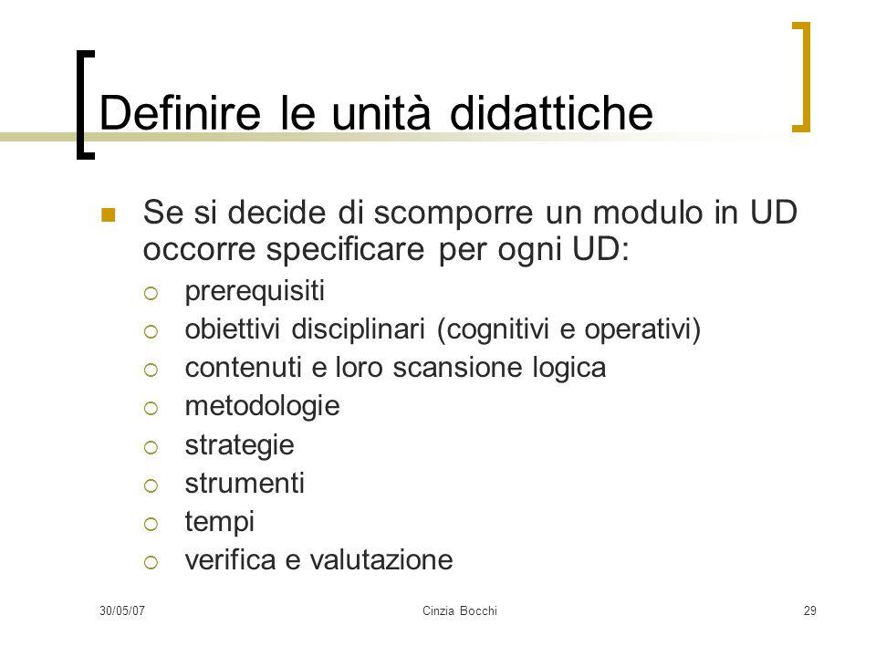 Definire le unità didattiche