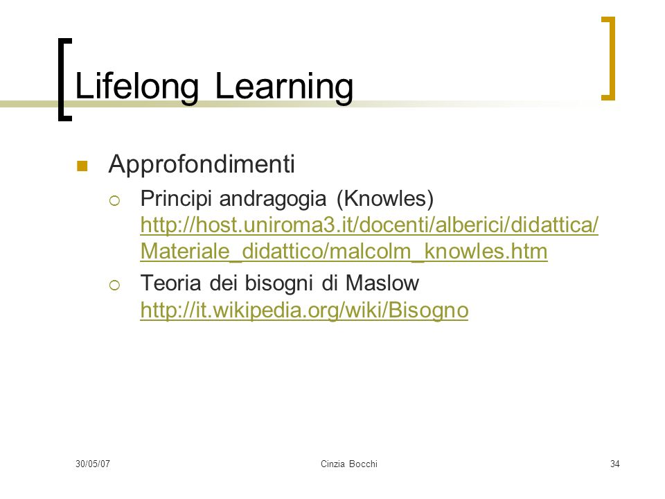 Lifelong Learning Approfondimenti