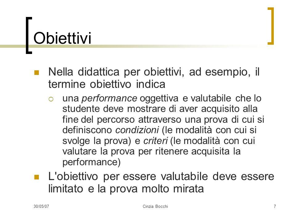 Obiettivi Nella didattica per obiettivi, ad esempio, il termine obiettivo indica.