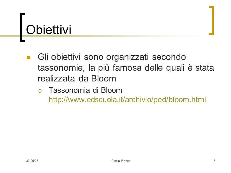 Obiettivi Gli obiettivi sono organizzati secondo tassonomie, la più famosa delle quali è stata realizzata da Bloom.