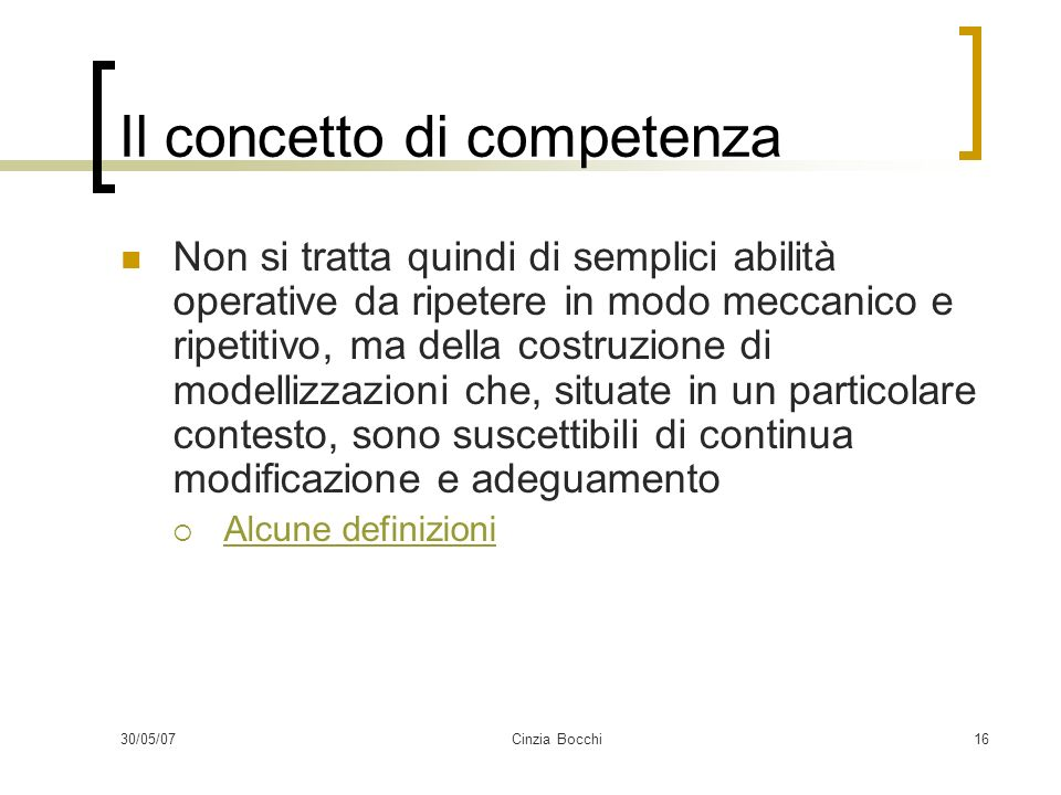 Il concetto di competenza