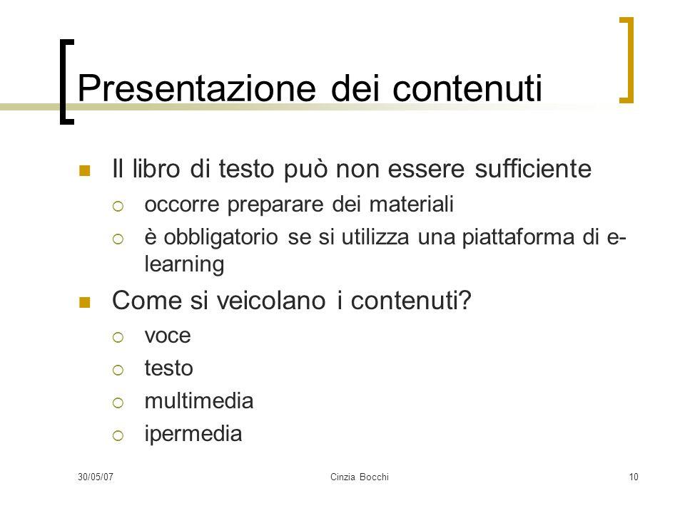 Presentazione dei contenuti