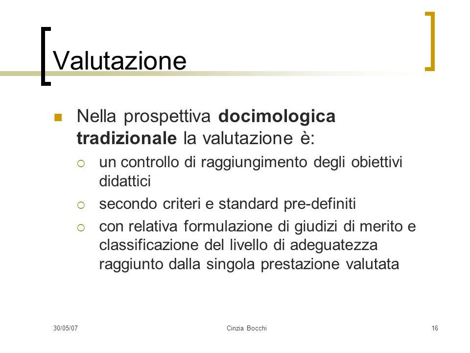 Valutazione Nella prospettiva docimologica tradizionale la valutazione è: un controllo di raggiungimento degli obiettivi didattici.