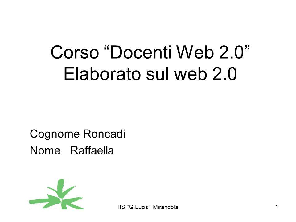 Corso Docenti Web 2.0 Elaborato sul web 2.0