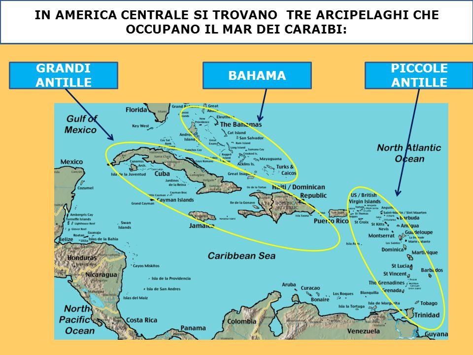 IN AMERICA CENTRALE SI TROVANO TRE ARCIPELAGHI CHE OCCUPANO IL MAR DEI CARAIBI: