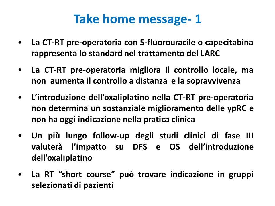 Take home message- 1La CT-RT pre-operatoria con 5-fluorouracile o capecitabina rappresenta lo standard nel trattamento del LARC.