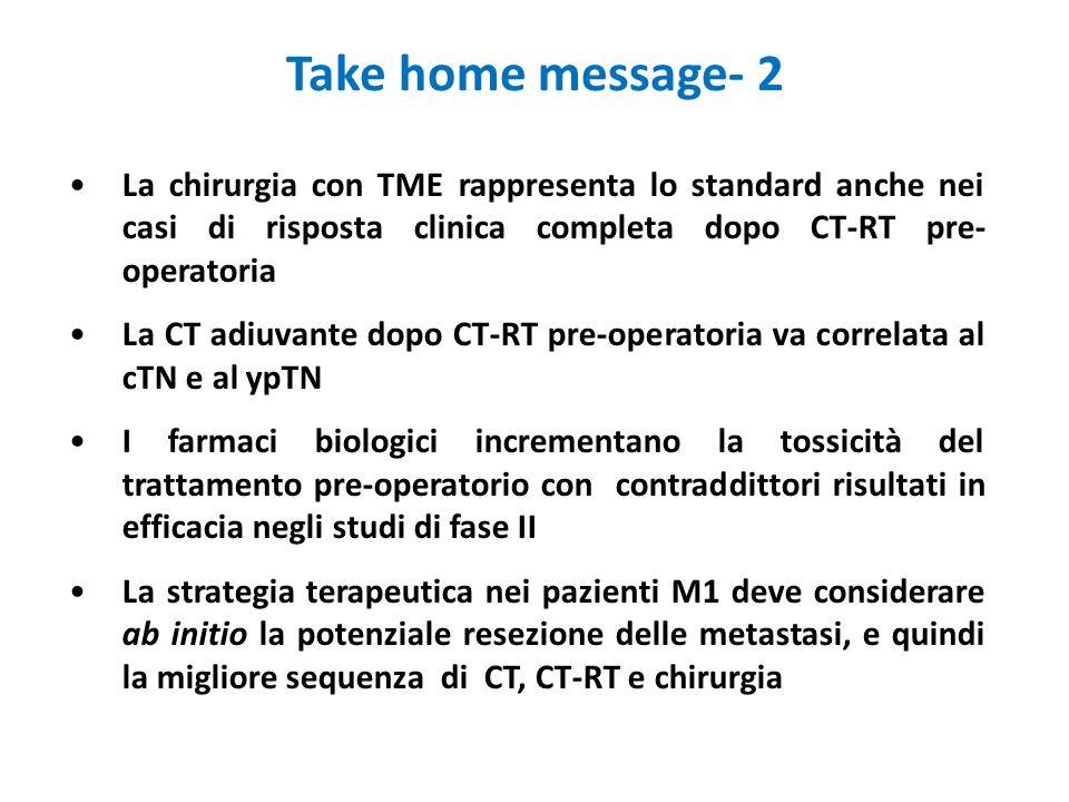 Take home message- 2 La chirurgia con TME rappresenta lo standard anche nei casi di risposta clinica completa dopo CT-RT pre-operatoria.