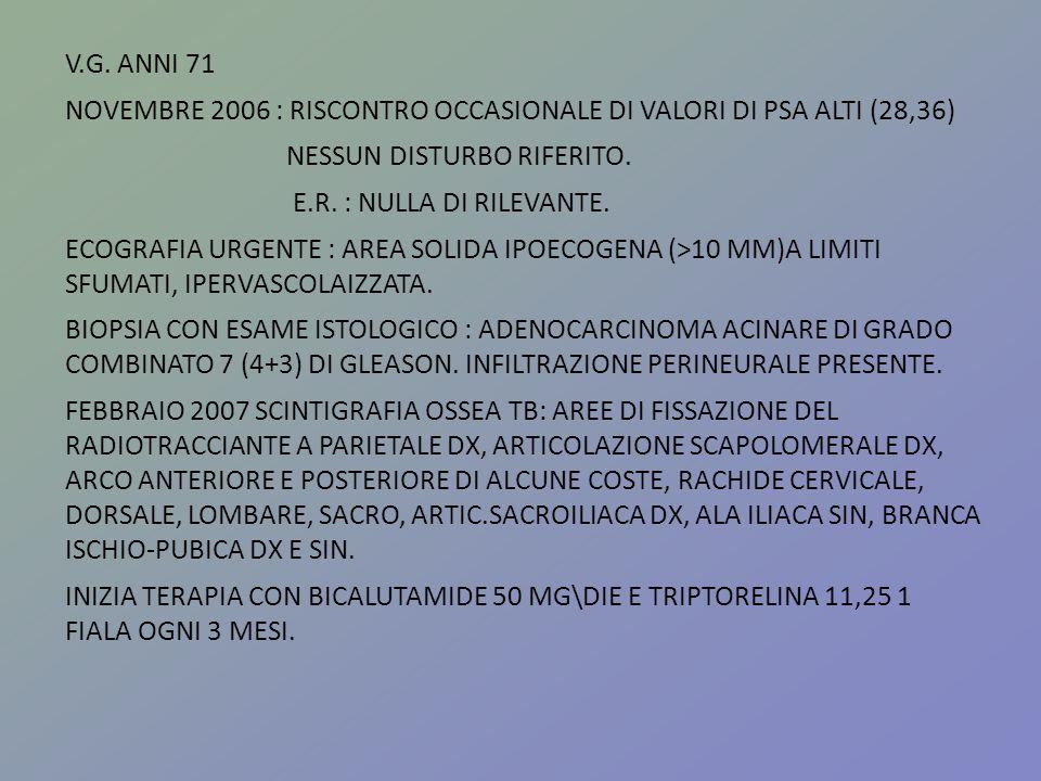 V.G. ANNI 71NOVEMBRE 2006 : RISCONTRO OCCASIONALE DI VALORI DI PSA ALTI (28,36) NESSUN DISTURBO RIFERITO.
