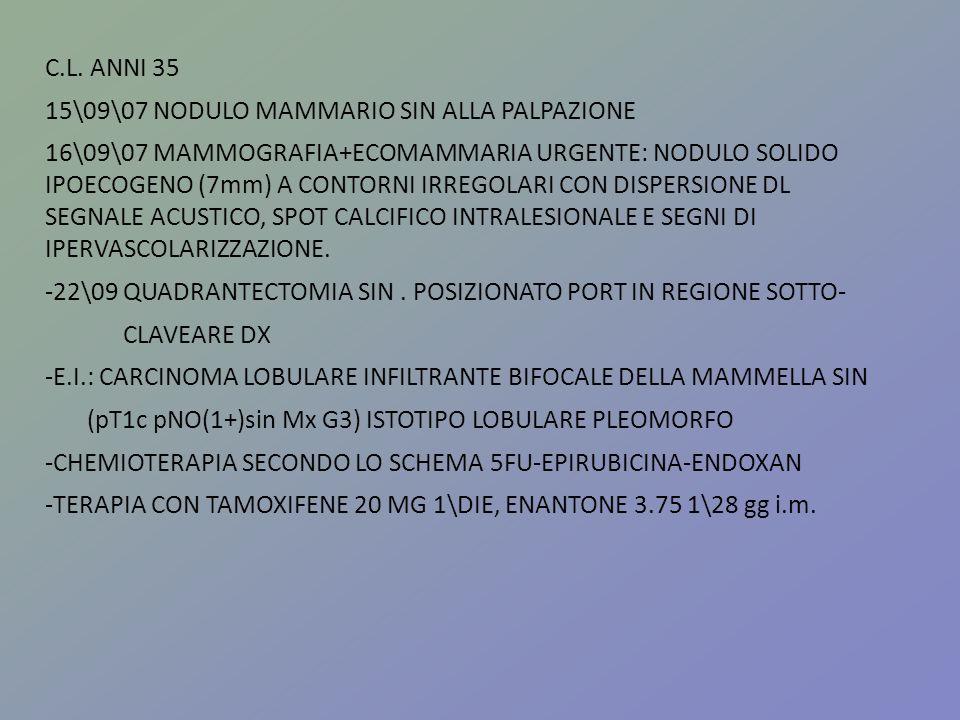 C.L. ANNI 3515\09\07 NODULO MAMMARIO SIN ALLA PALPAZIONE.