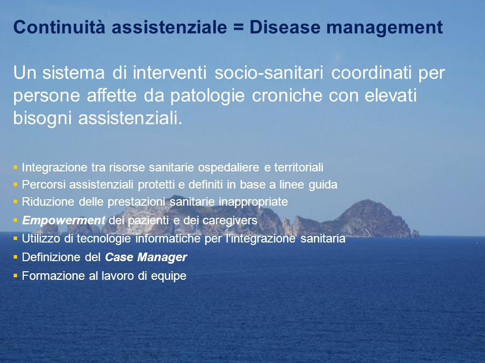 Continuità assistenziale = Disease management