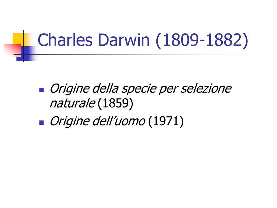 Charles Darwin (1809-1882) Origine della specie per selezione naturale (1859) Origine dell'uomo (1971)