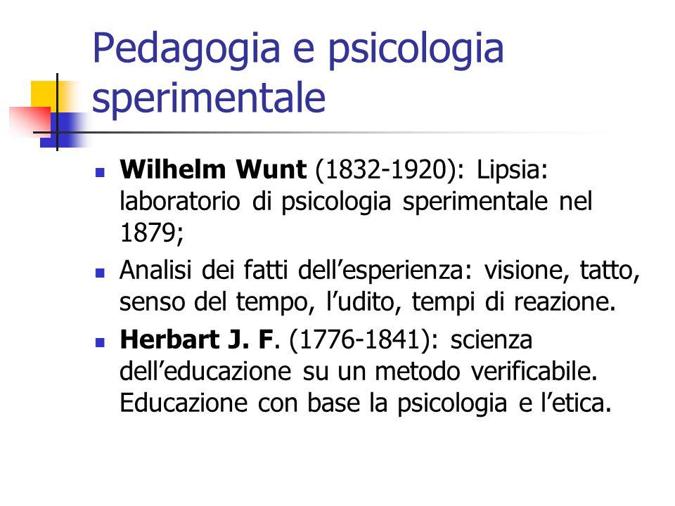 Pedagogia e psicologia sperimentale