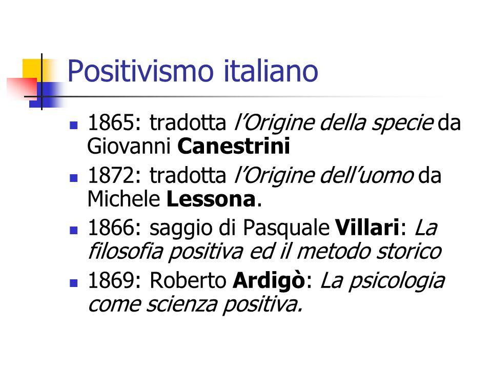 Positivismo italiano 1865: tradotta l'Origine della specie da Giovanni Canestrini. 1872: tradotta l'Origine dell'uomo da Michele Lessona.