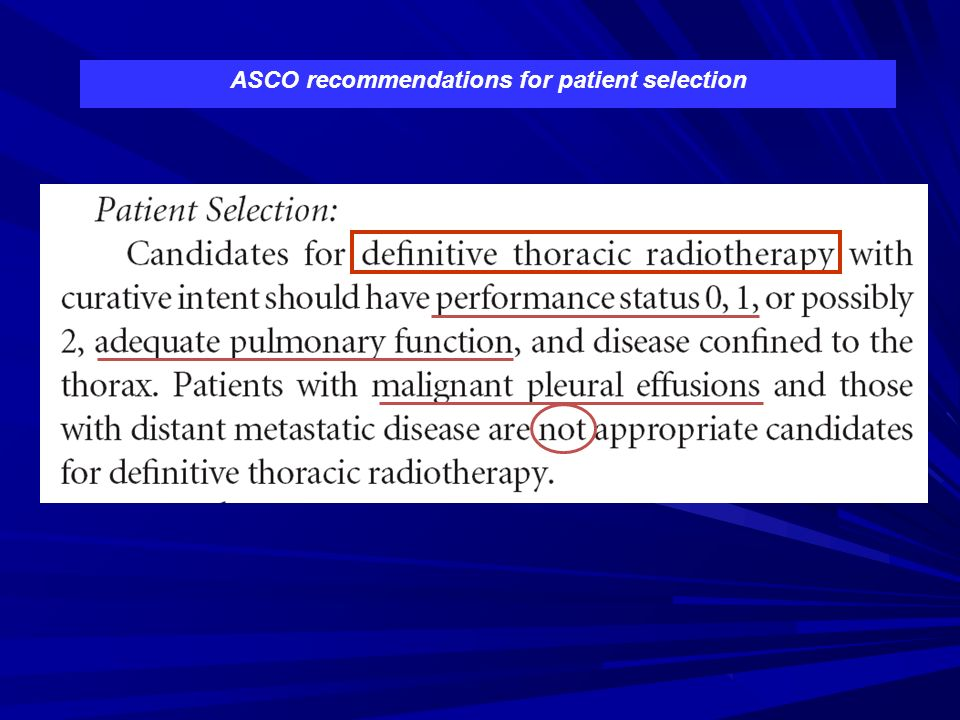 ASCO recommendations for patient selection