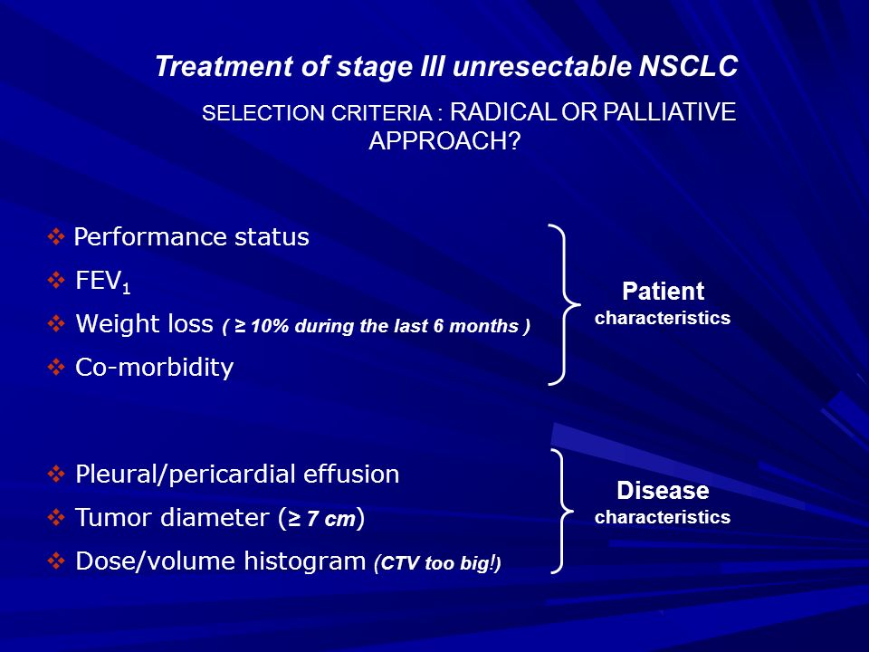 Patient characteristics Disease characteristics