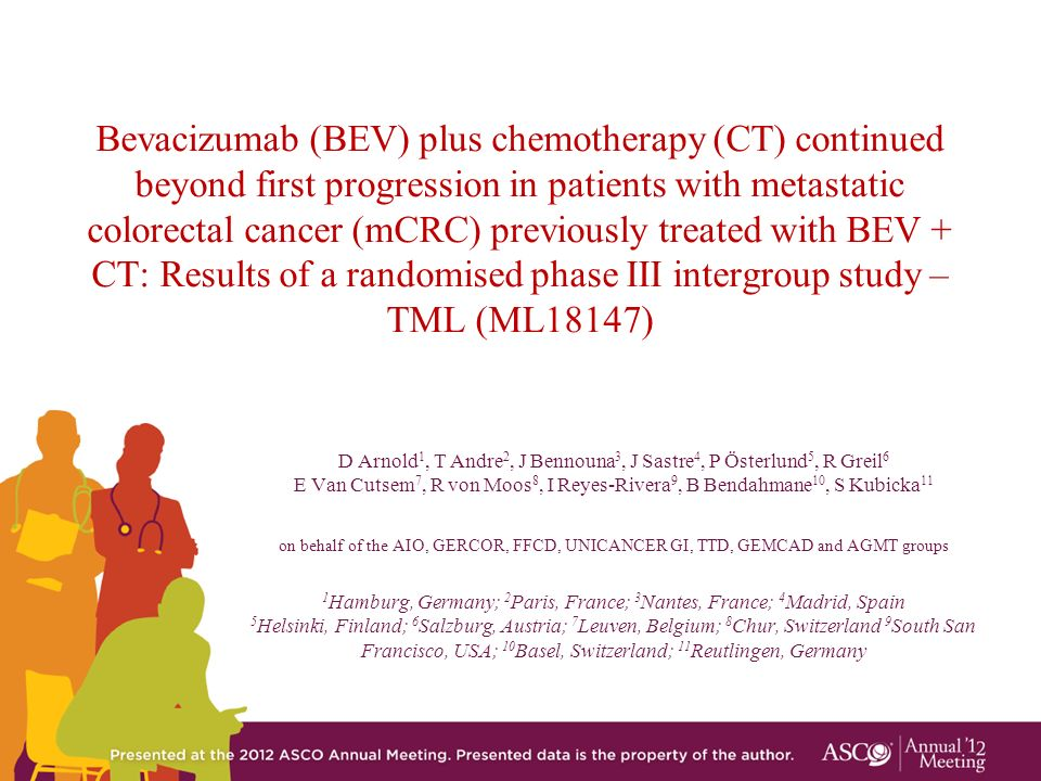Bevacizumab (BEV) plus chemotherapy (CT) continued beyond first progression in patients with metastatic colorectal cancer (mCRC) previously treated with BEV + CT: Results of a randomised phase III intergroup study – TML (ML18147)
