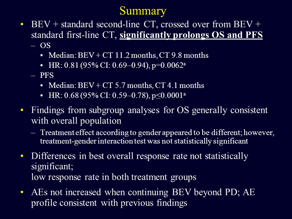 Summary BEV + standard second-line CT, crossed over from BEV + standard first-line CT, significantly prolongs OS and PFS.