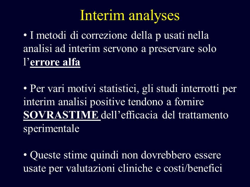 Interim analyses I metodi di correzione della p usati nella analisi ad interim servono a preservare solo l'errore alfa.