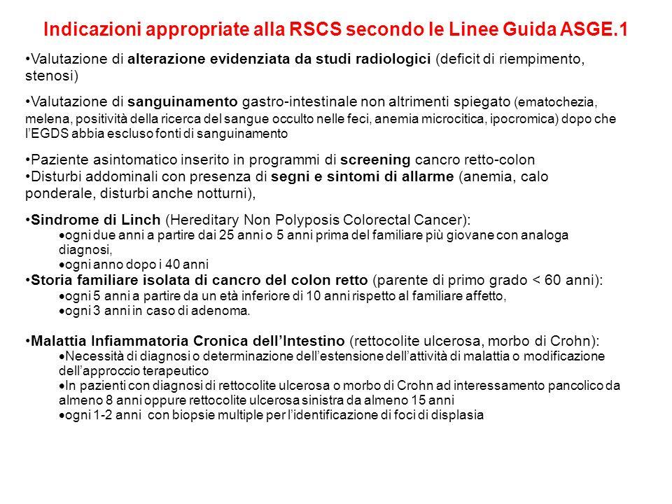Indicazioni appropriate alla RSCS secondo le Linee Guida ASGE.1