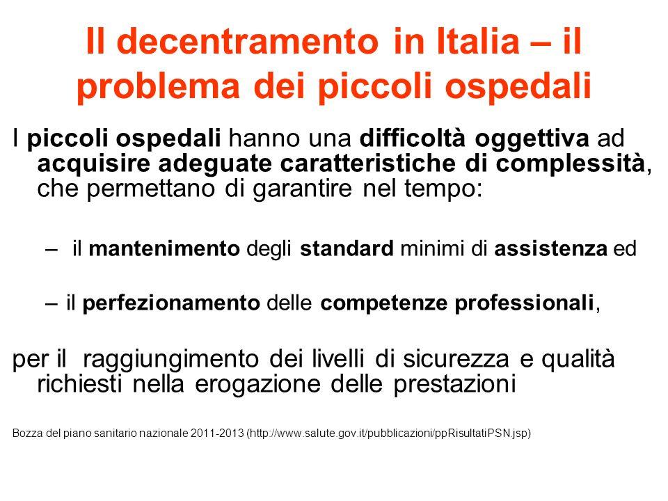 Il decentramento in Italia – il problema dei piccoli ospedali