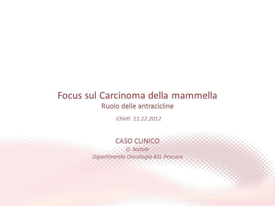 Focus sul Carcinoma della mammella Ruolo delle antracicline Chieti 11