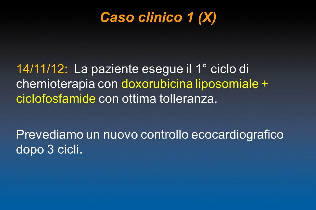 Caso clinico 1 (X)14/11/12: La paziente esegue il 1° ciclo di chemioterapia con doxorubicina liposomiale + ciclofosfamide con ottima tolleranza.