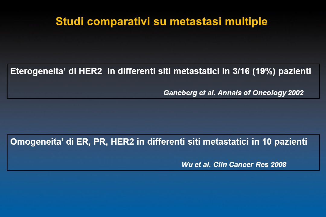 Studi comparativi su metastasi multiple