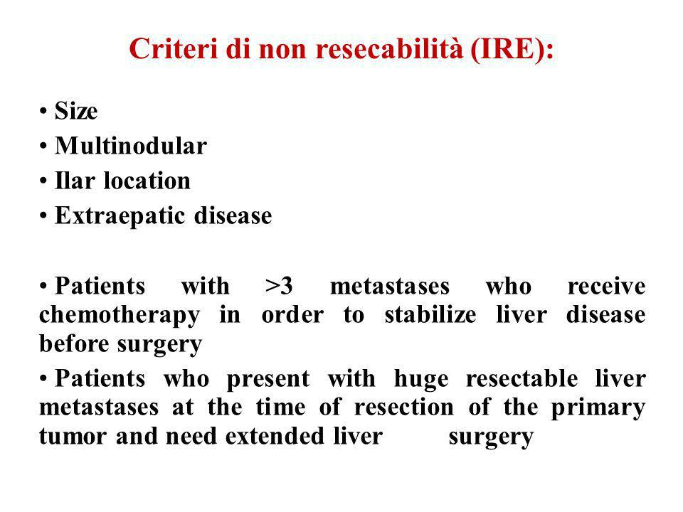 Criteri di non resecabilità (IRE):