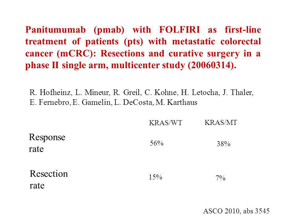 Panitumumab (pmab) with FOLFIRI as first-line treatment of patients (pts) with metastatic colorectal cancer (mCRC): Resections and curative surgery in a phase II single arm, multicenter study ( ).