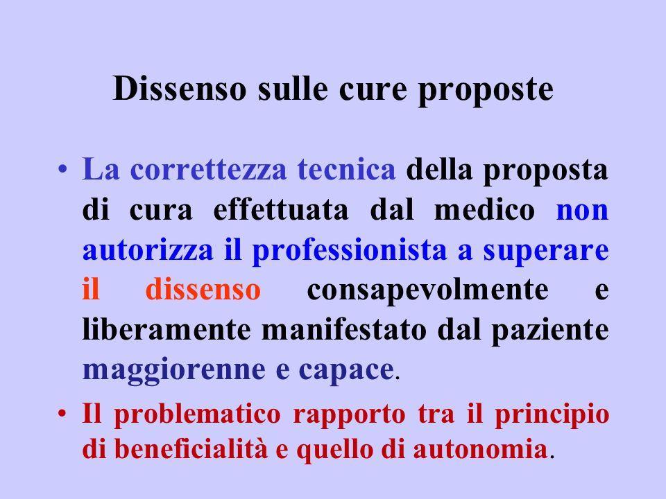 Dissenso sulle cure proposte
