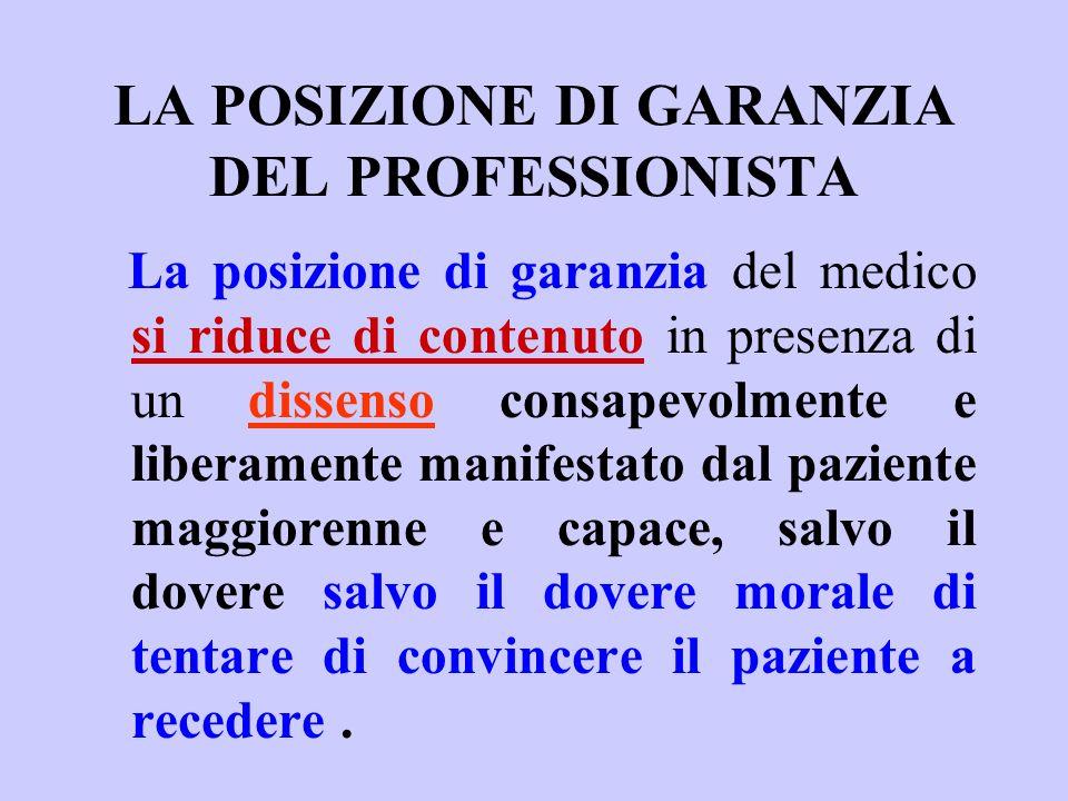 LA POSIZIONE DI GARANZIA DEL PROFESSIONISTA