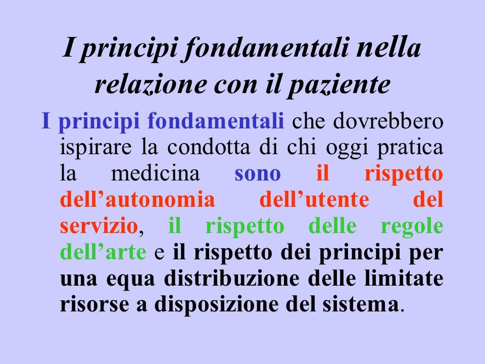 I principi fondamentali nella relazione con il paziente
