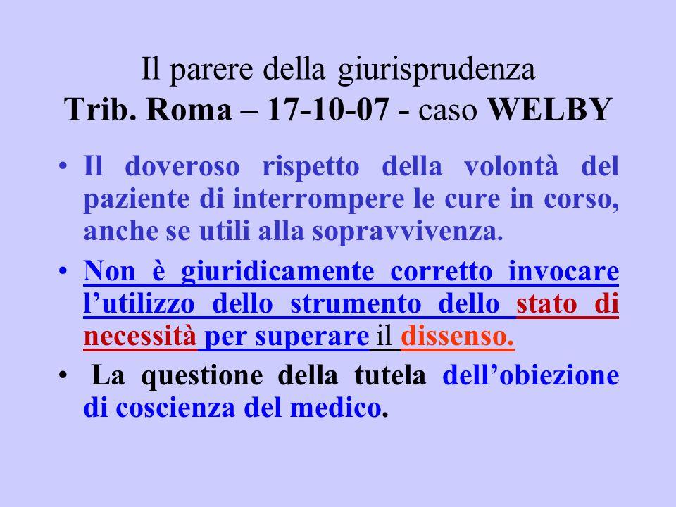 Il parere della giurisprudenza Trib. Roma – 17-10-07 - caso WELBY